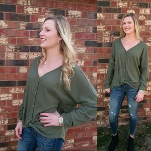 Tops - Thermal waffle knit top - OLIVE GREEN